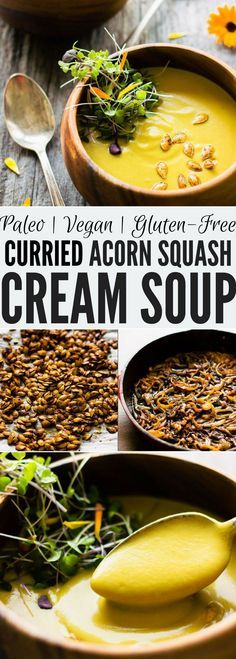 This easy and healthy curried acorn squash soup is the perfect fall comfort food. Sweet and spicy, creamy and savory, this simple potage is also vegan, gluten-free, dairy-free, paleo, vegetarian, flourless, nut-free and sugar-free. | onecleverchef.com