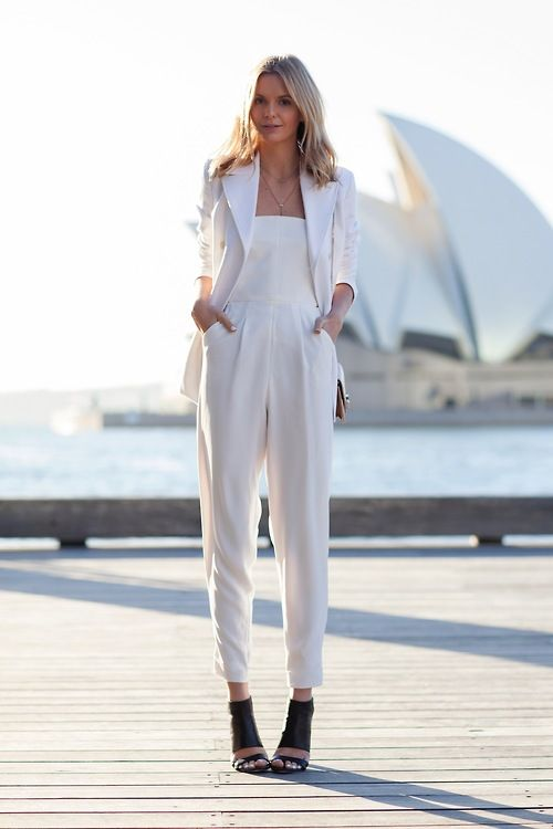 Shop this look for $99:  http://lookastic.com/women/looks/white-blazer-and-white-jumpsuit-and-black-leather-sandals/2297  — White Blazer  — White Jumpsuit  — Black Leather Sandals