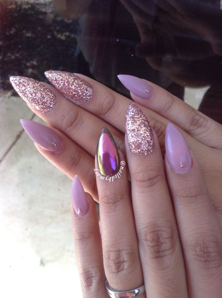 Chrome pink mauve rose gold glitter matte pointy stiletto acrylic nails