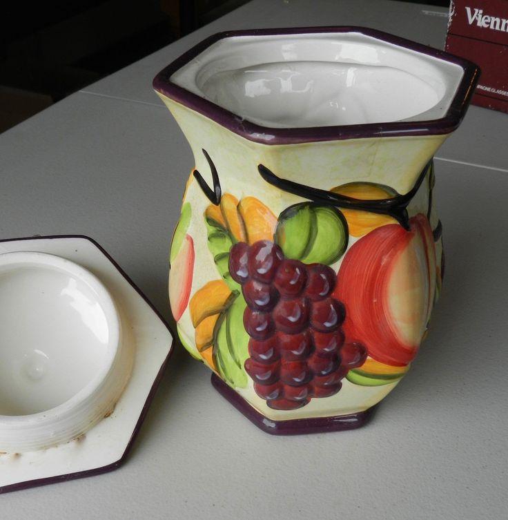 Hand Painted Biscotti Jar - Retro - Plastic Inner Seal - 2000s