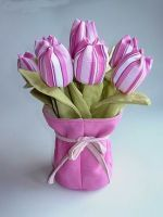 Striped fabric tulips