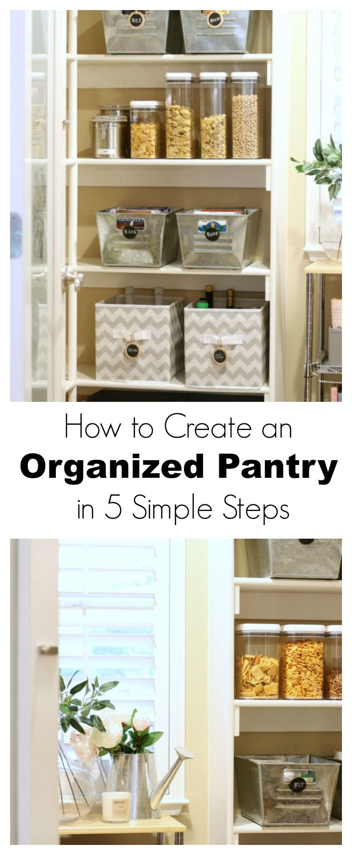How to Create an Organized Pantry in 5 Simple Steps- Follow The Design Twins tips, tricks and perfect product suggestions to create an organized pantry in 5 simple steps and even keep it that way!