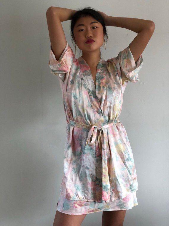 77eba75856a74 80s Victorias Secret silk short robe / watercolor floral silk ...