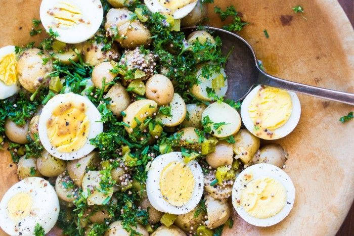 This New Potato Salad with Eggs and Mustard Seed is gutsy and full of flavor - it makes the perfect warm summer side dish because there's no mayo to spoil.