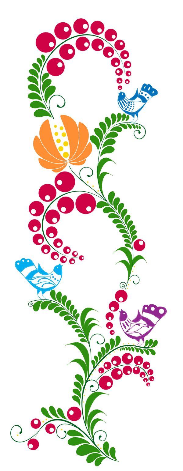 Zohara - Hungarian folk art pattern design by Anna M., via Behance