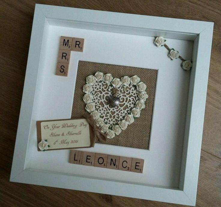 Personalised Scrabble tile frame Rustic Wedding Engagement Mr/Mrs gift keepsake