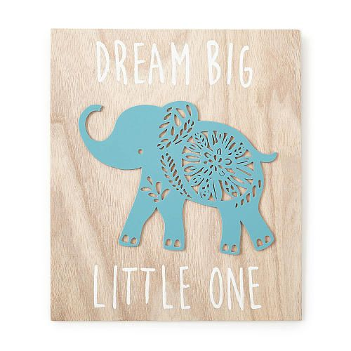 """The Zahara Wooden Wall Art adds color and interest to the nursery. This chic modern design features the phrase, """"Dream Big Little One"""" with a teal wood cut-out elephant in the center. Coordinates with the Zahara Nursery Bedding Collection."""