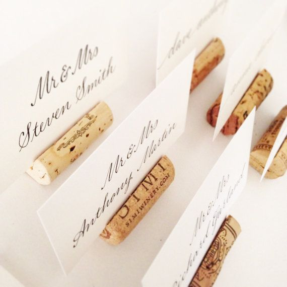 Wine Cork Table Numbers: Single Wine Cork Place Card Holders Or Table Number