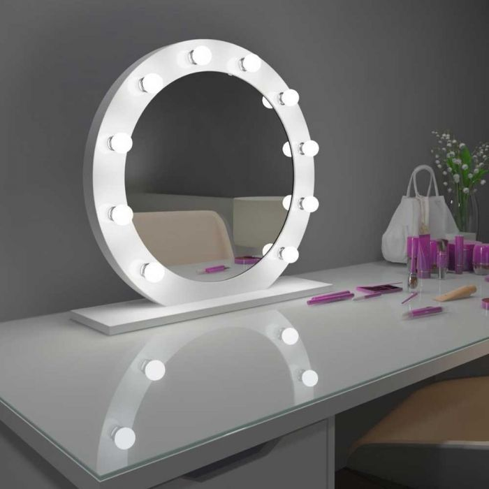 Lighted Hollywood Mirror Dimmable Diana Round From Paris Mirrors Hollywood Mirror Led Mirror Bathroom Mirror