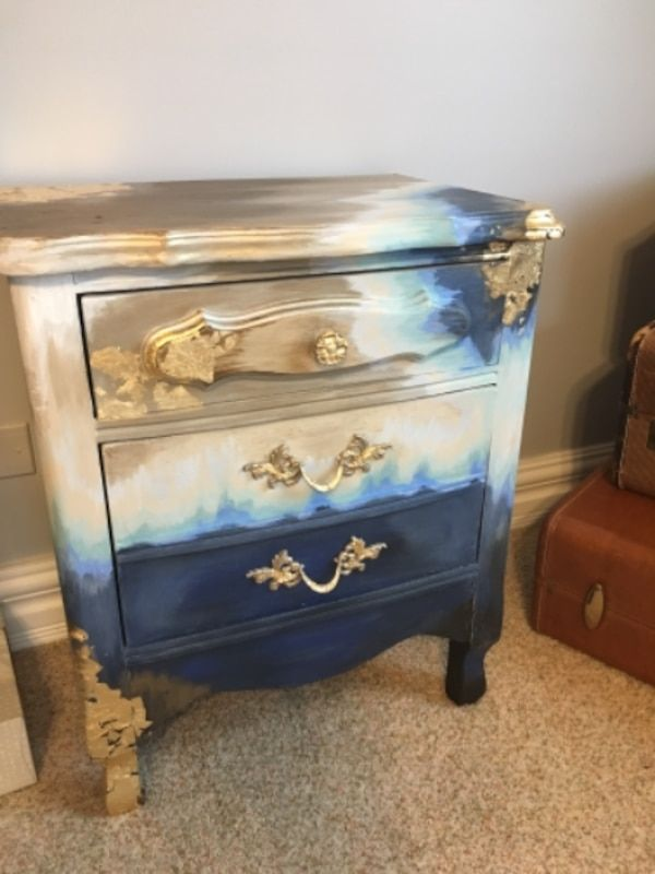 Used Gold Leaf And Ombre Blue Nightstand For Sale In Lake Forest Letgo Blue Nightstands Solid Wood Dresser Painted Furniture
