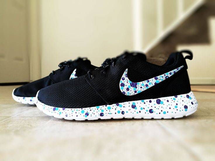 Womens custom Nike Roshe polka dots, purple and blue dots, cute and trendy design