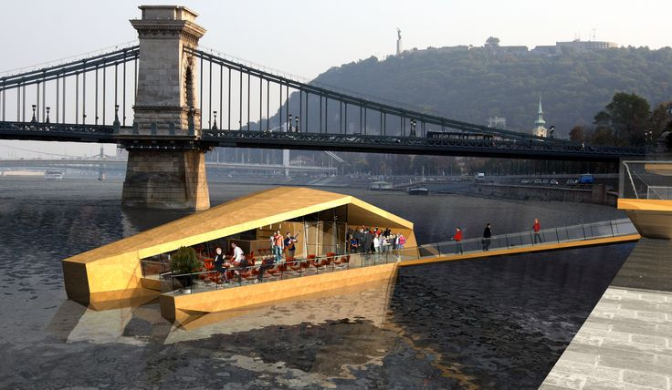 Dunabusz project designed by 4D Architects floating station restaurant modern architecture