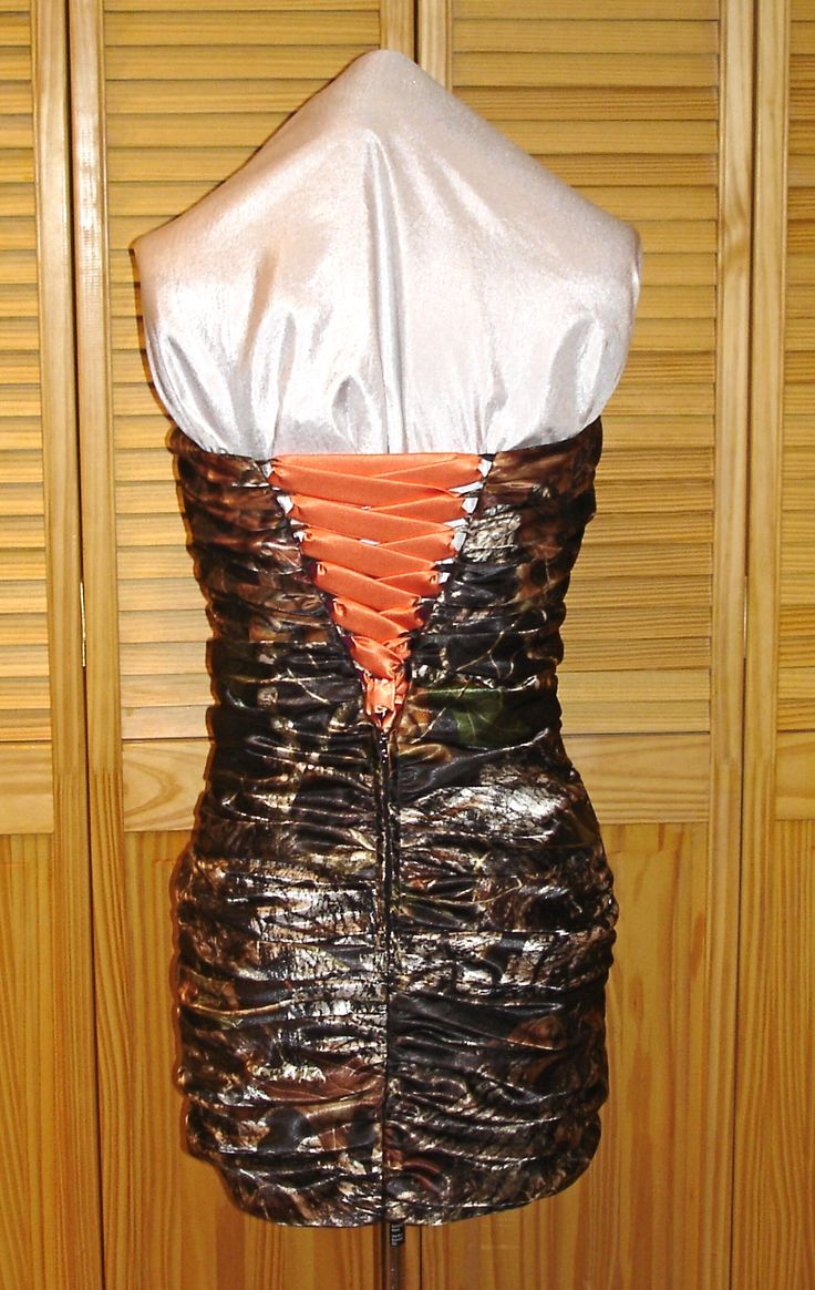 91 best camo wedding gowns ive made images on pinterest camo back view of ruched mini dress with blaze orange lace up can also be made with camo weddingorange ombrellifo Gallery