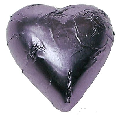 A bulk 1kg bag of Lilac Foil Chocolate Hearts.