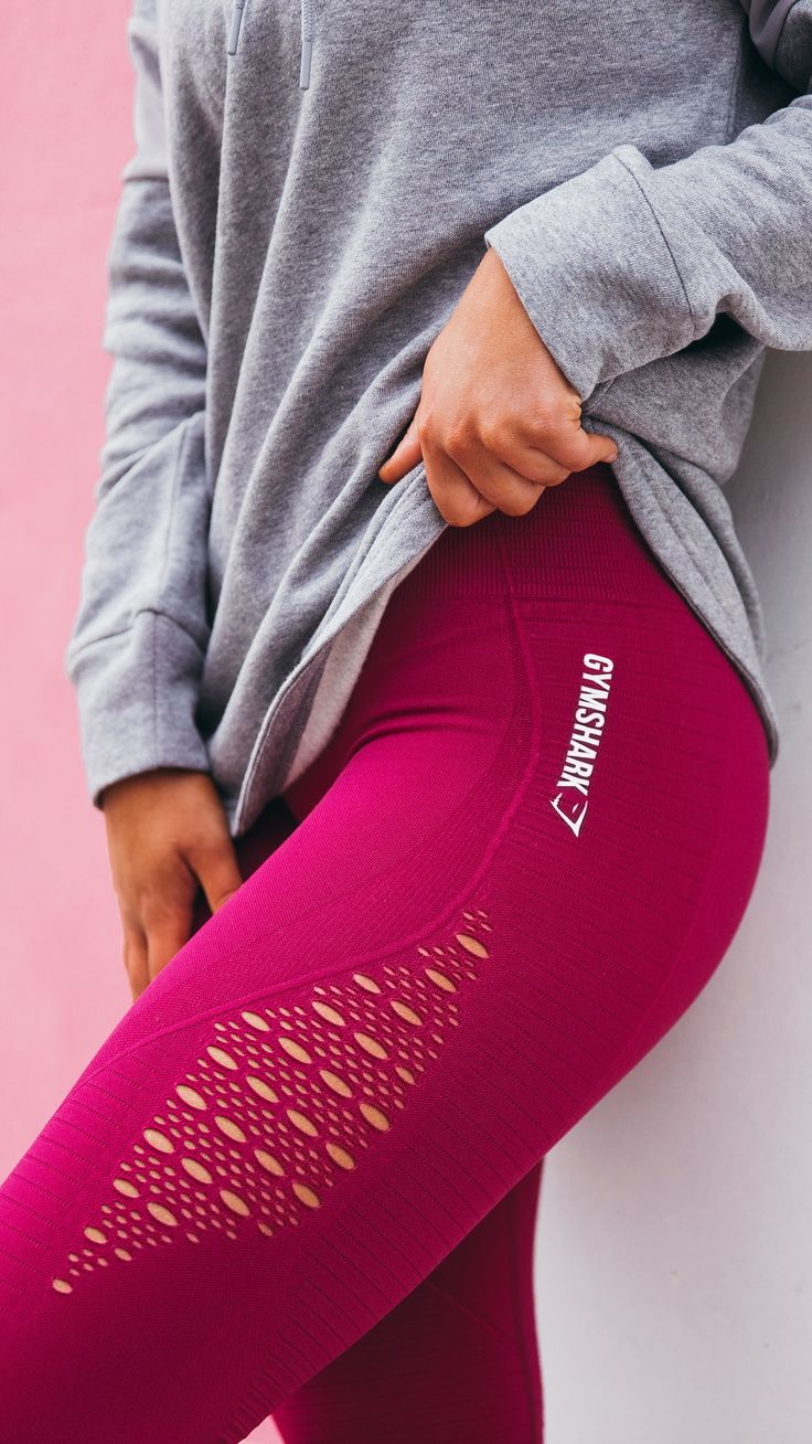"""Workout style must-haves. """"The eyelet detailing on the original High Waisted Seamless Leggings was an experiment at first, to see if it would work in terms of durability."""" The Energy Seamless collection launches 3pm GMT on 1st January 2018, in four gorgeous colours. #gymshark"""