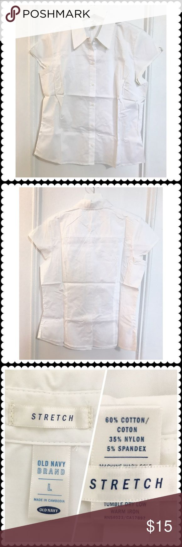 Old navy white shirt Old navy white shirt cotton/nylon/spandex cap sleeve shirt. Size L. Just took out of a package hence wrinkled. This is the best summer white everyday shirt I ran across and bought tons of them. I wore them a lot but still have several left. Nobody makes this kind of simple easy care shirt with good prices any more. Size L. It is new in package but didn't come with tags Old Navy Tops