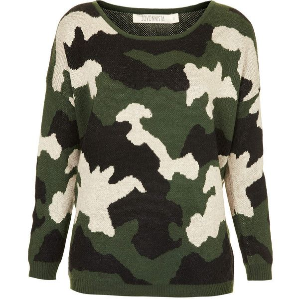 TOPSHOP **Dennie Camouflage Knitted Jumper by Jovonna ($25) ❤ liked on Polyvore featuring tops, sweaters, jumper, multi, green sweater, camouflage jumper, topshop sweater, camo jumper and green jumper
