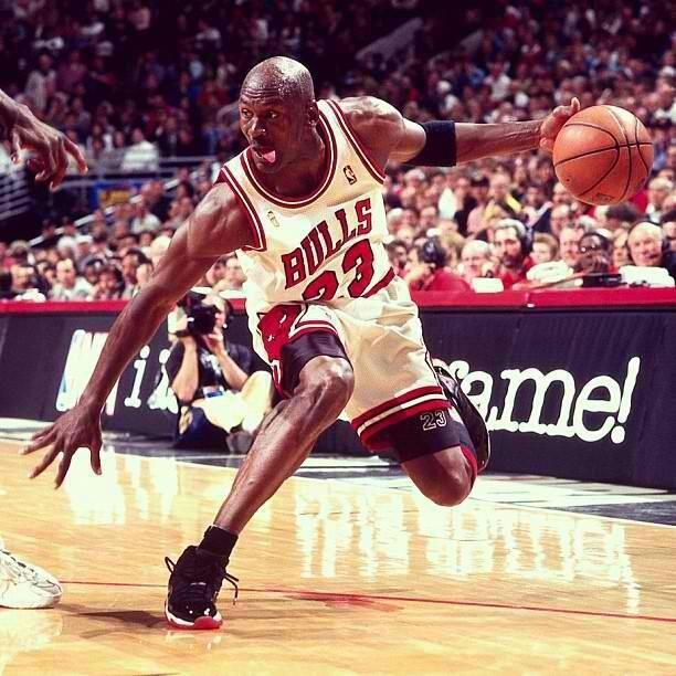 Micheal Jordan basketball crossover, love this guy even with the tongue  sticking…