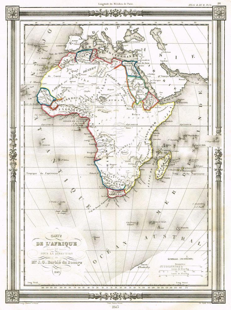 Carte - Afrique Tome I - Histoire pittoresque des voyages par L.-E. Hatin - 1844 - MAS Estampes Anciennes - Antique Prints