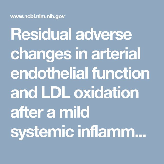 Residual adverse changes in arterial endothelial function and LDL oxidation after a mild systemic inflammation induced by influenza vaccination.  - PubMed - NCBI