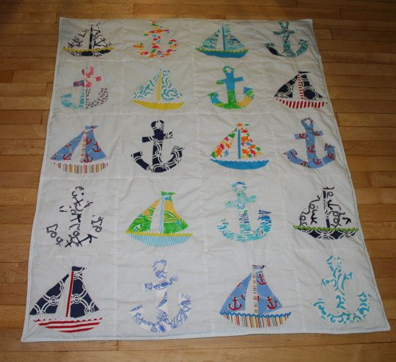 Baby Boy Nautical quilt made with Lilly Pulitzer fabric on Etsy, $125.00