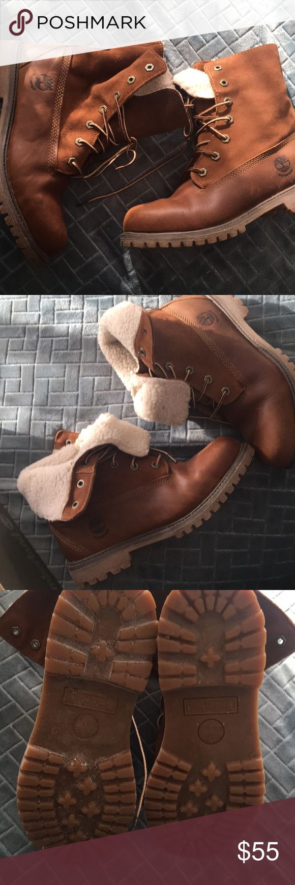 "Women's brown leather and wool timberlands Authentic Woman's Brown leather and wool, ""Teddy Fleece Fold down"" Timberlands boots . Can be worn folded down as pictured. The wool is also through out the inside of the shoe. Timberland Shoes Winter & Rain Boots"