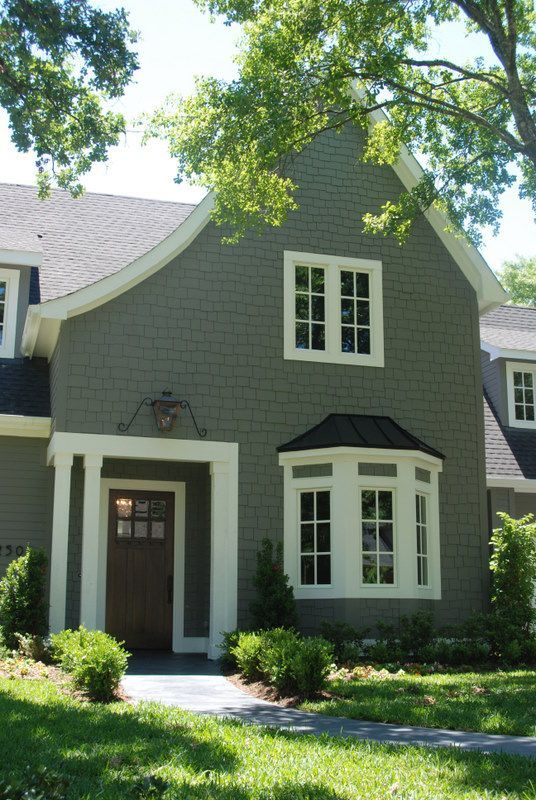 Benjamin Moore Amherst Gray With Black Shutters White