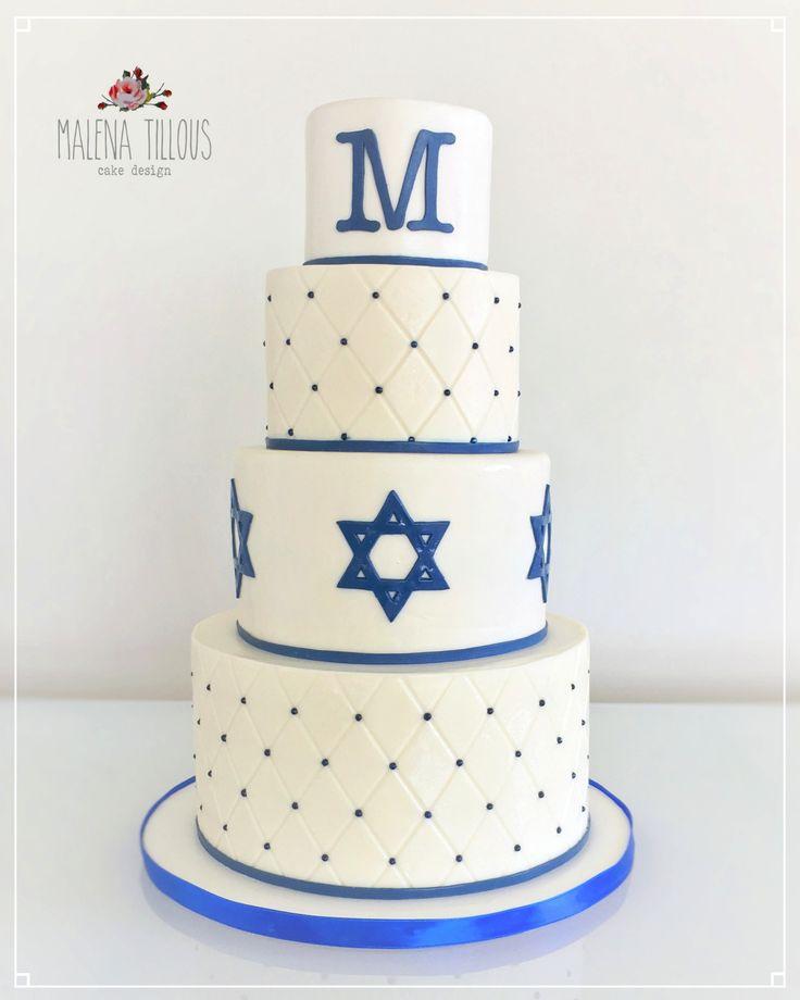 Bar Mitzvah Cake with custom monogram and David Stars