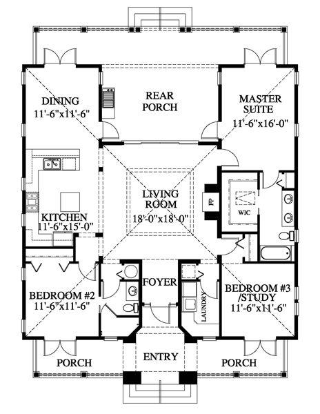 Smaller  Beach Style House Plan - 3 Beds 2 Baths 1622 Sq/Ft Plan #426-11 Main Floor Plan - Houseplans.com