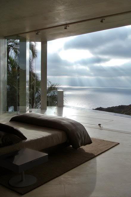Bedroom with an ocean view.