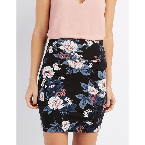 Charlotte Russe Floral Bodycon Mini Skirt ($5) ❤ liked on Polyvore featuring skirts, mini skirts, black multi, bodycon skirt, mini skirt, embellished skirts, short mini skirts and charlotte russe skirts