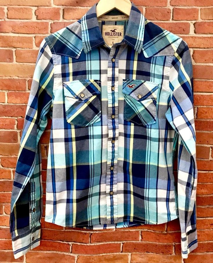 Hollister California Checked Long Sleeved Men's Shirt Surfer Cut Snappers VGC