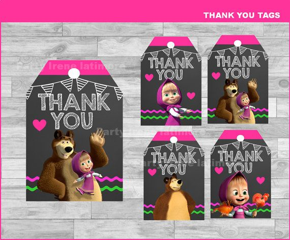Masha and The Bear Thank you Tags Instant por partyirenelatimore