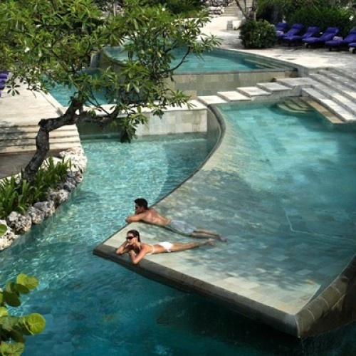 Ayana Villa  Experience one of the world's most majestic spots, Bali, in this private hotel with access to incredible pools.  {Now that's my kind of pool!}