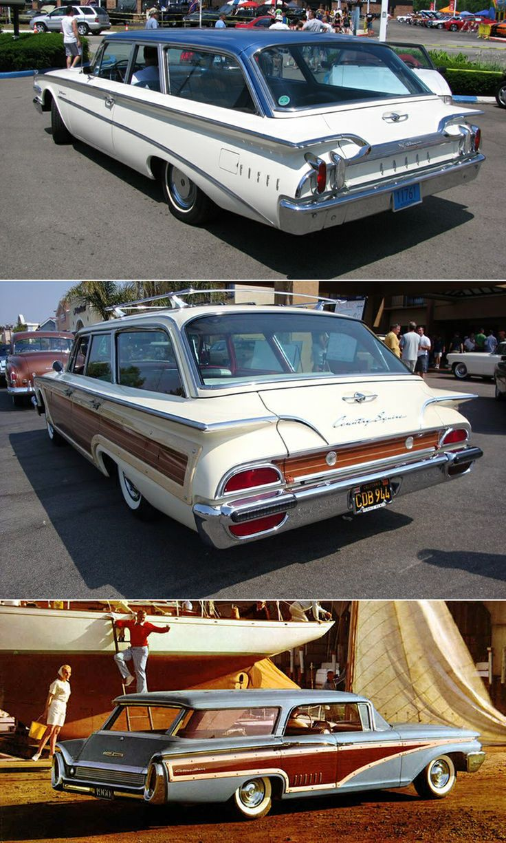 Rear comparison of 1960 edsel villager ford country squire and mercury colony park country cruiser