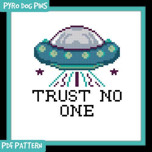 Trust No One Cross Stitch Pattern PDF Modern Cross Stitch