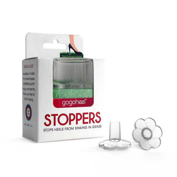 GoGoHeel® STOPPERS Heel Protectors prevent high heels from sinking into grass. Stabilizes your heel & protects it from damage. Perfect for outdoor weddings.