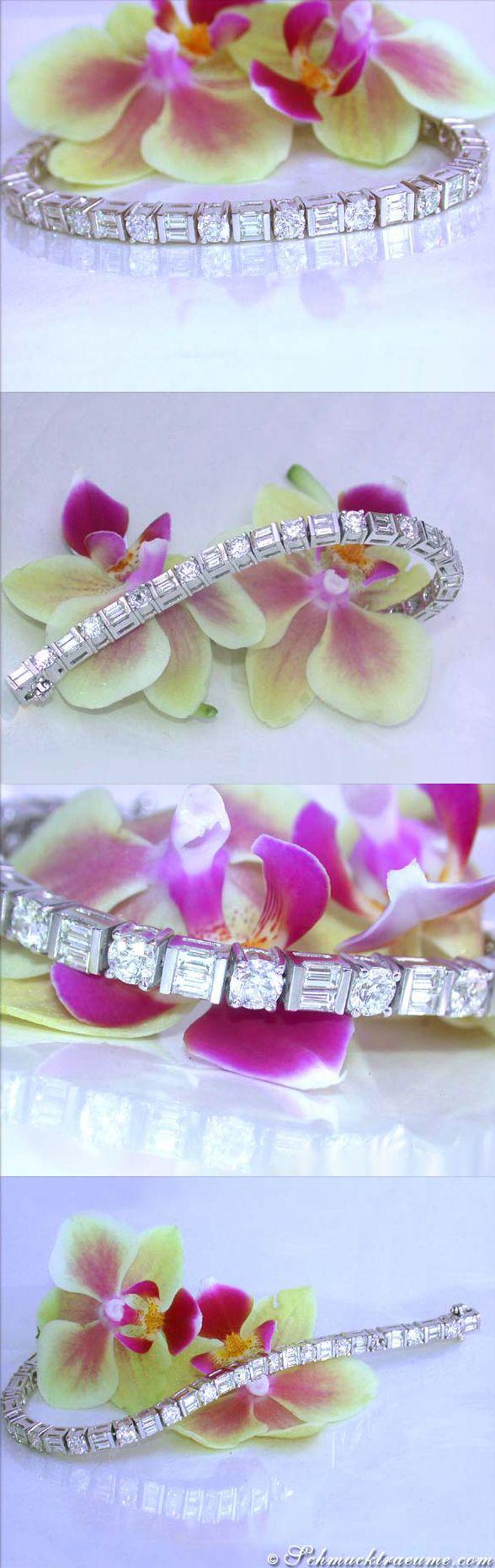 Ausgesuchtes Diamanten Armband | Exquisite Diamond Bracelet | 9,41 ct. G SI, WG 18k | Visit: schmucktraeume.com | Like: https://www.facebook.com/Noble-Juwelen-150871984924926/