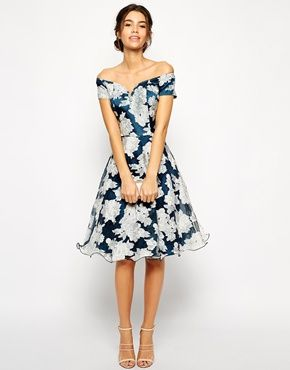 Enlarge Chi Chi London Printed Organza Midi Prom Dress with Bardot Neck $104
