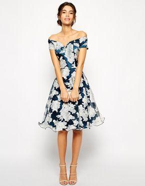 Enlarge Chi Chi London Printed Organza Midi Prom Dress with Bardot Neck