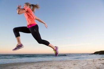 Sprinter Larissa Dykes on a beach near Brighton, Dunedin, New Zealand.
