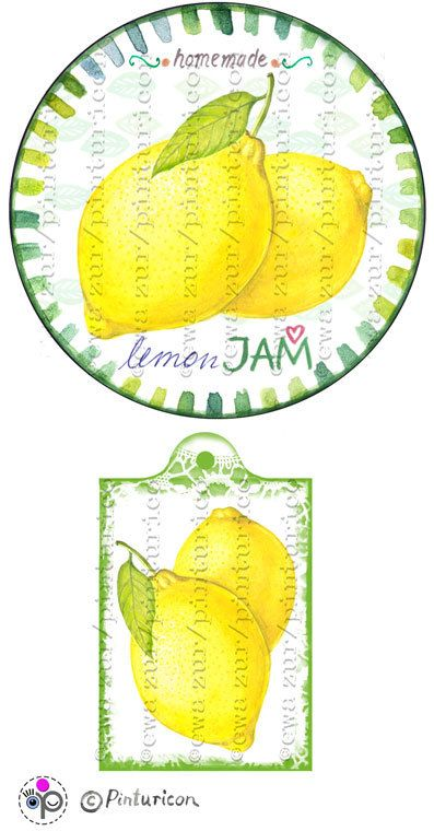 Circle jam label lemon jam label printable mason jar by Pinturicon