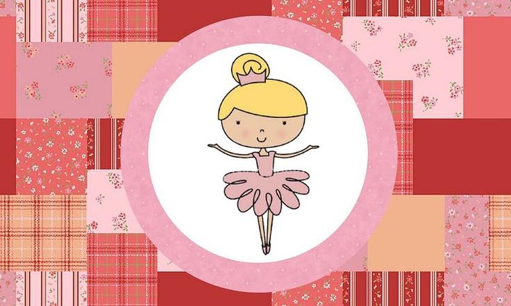 Fazendo a Minha Festa - Kits Completos: Bailarina Rosa Poá - Kit Completo com molduras para convites, rótulos para guloseimas, lembrancinhas e imagens!