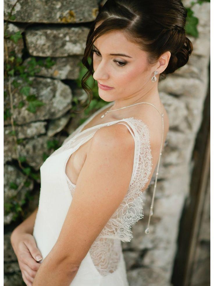 """Nina"" Collier de mariée avec long bijou robe dos nu"