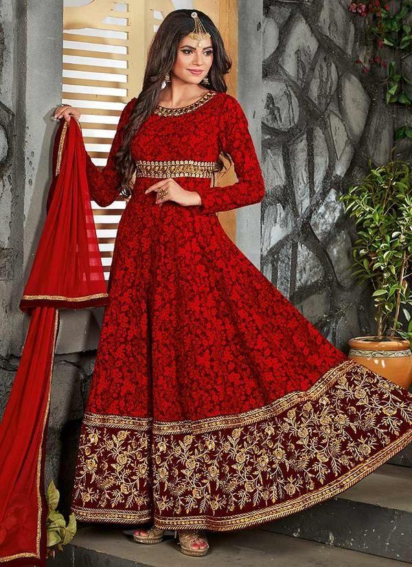 Red Georgette Abaya Style Anarkali Suit