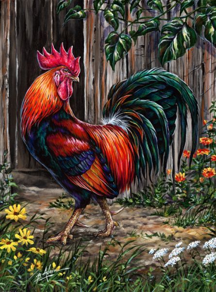 """Barnyard Boss"" (Rooster). My grandmother had 2 of these, they would wait for me beyond the gate separating the yard from the hen house & barns. I learned to run very fast until I realized I could ring their necks. They seemed to know when that time came and stopped bothering me. KS"