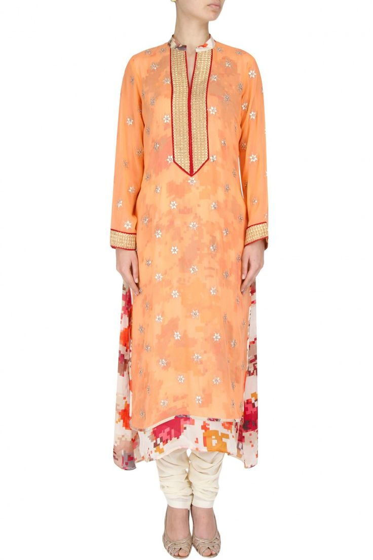 Orange tunic with floral printed underlayer available only at Pernia's Pop Up Shop.