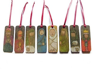 Nativity ornaments with relevant Christmas story quote on back