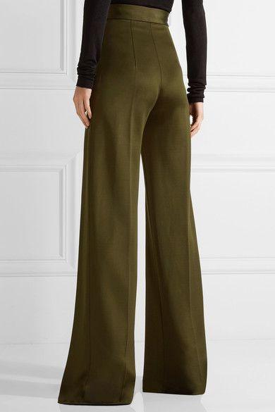 Balmain - Stretch-knit Wide-leg Pants - Army green - FR36