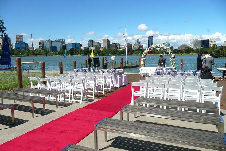 Wedding Ceremony on our outside decking area including chair hire & red carpet hire #thepointalbertpark #thepointalbertparkweddings #wedding #brideandgroom #weddinginspo #weddingideas #weddingvenue #melbournevenues #melbournefunctions #melbournewedding #newlyweds #receptionvenue